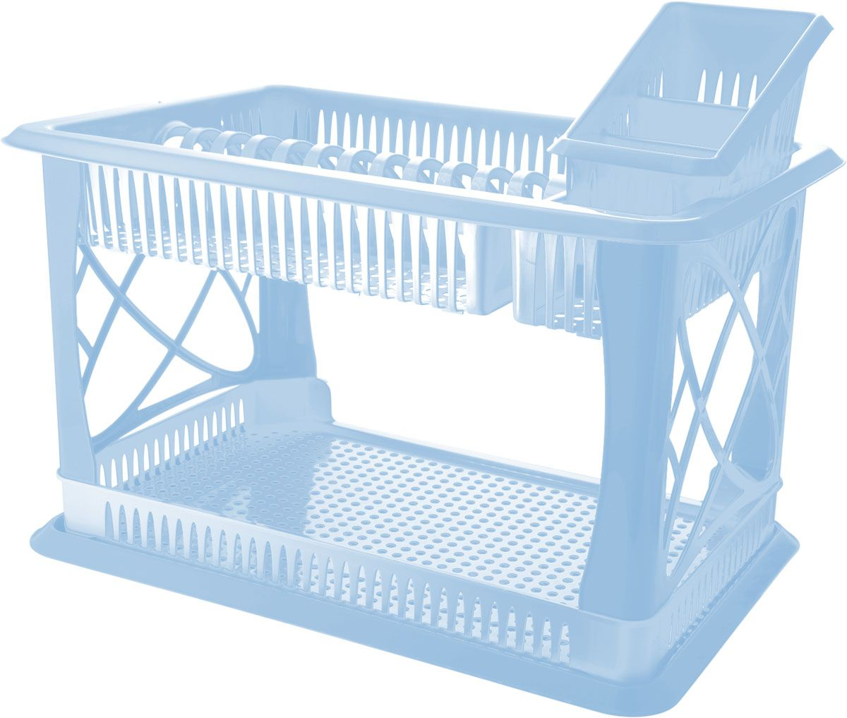 Двухъярусная сушилка для посуды выполнена  из пластика. Изделие  оснащено поддоном для стекания воды и подставкой для  столовых приборов и стаканов. Сушилка может  быть установлена как на столе, так и подвешена на стену при  помощи крючков (не входят в комплект).  Размер сушилки (с учетом подставок): 49 х 17,5 х 32,5 см.  Размер поддона: 47 х 30 х 2,5 см.