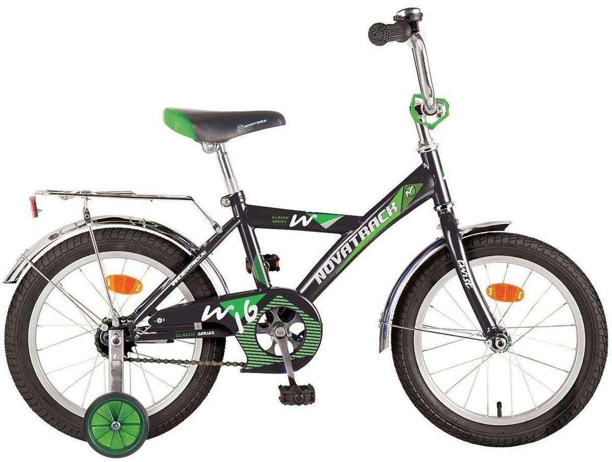 """Велосипед детский Novatrack """"Twist"""", цвет: черный, зеленый, 12"""""""