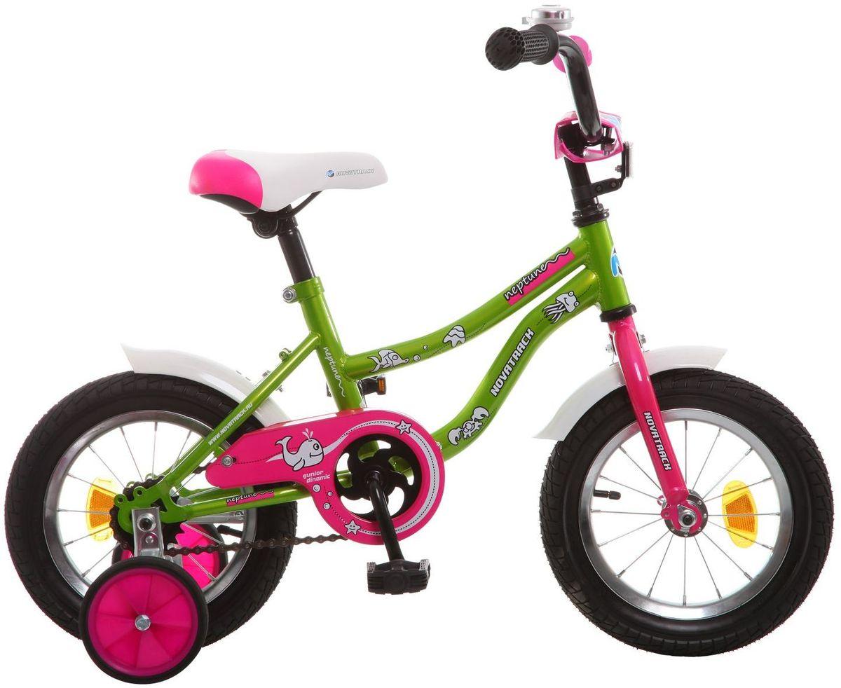 Велосипед детский Novatrack Neptune, цвет: зеленый, розовый, 12123NEPTUN.GN5Если вам нужен качественный, надежный и оптимальный по цене велосипед для ребенка, то это, конечно - Novatrack Neptun 12'', который рассчитан на малышей 2-4 лет. Достаточно только взглянуть на эту модель, чтобы понять, насколько удобно и безопасно будет чувствовать себя ваш сын или дочка. Да-да, этот велосипед прекрасно подойдет и мальчику, и девочке. Это детское двухколесное транспортное средство прекрасно управляется даже самыми неопытными велосипедистами, ведь его конструкция тщательно продумана с учетом того, что кататься на этом велосипеде будут малыши. В частности, модель снабжена ограничителем поворота руля, что не позволит ребенку слишком сильно вывернуть переднее колесо велосипеда и упасть. Установлены дополнительные опции: защита цепи, стильные укороченные крылья, мягкие накладки, которые служат еще и элементом дизайна, громкий звонок и катафоты.