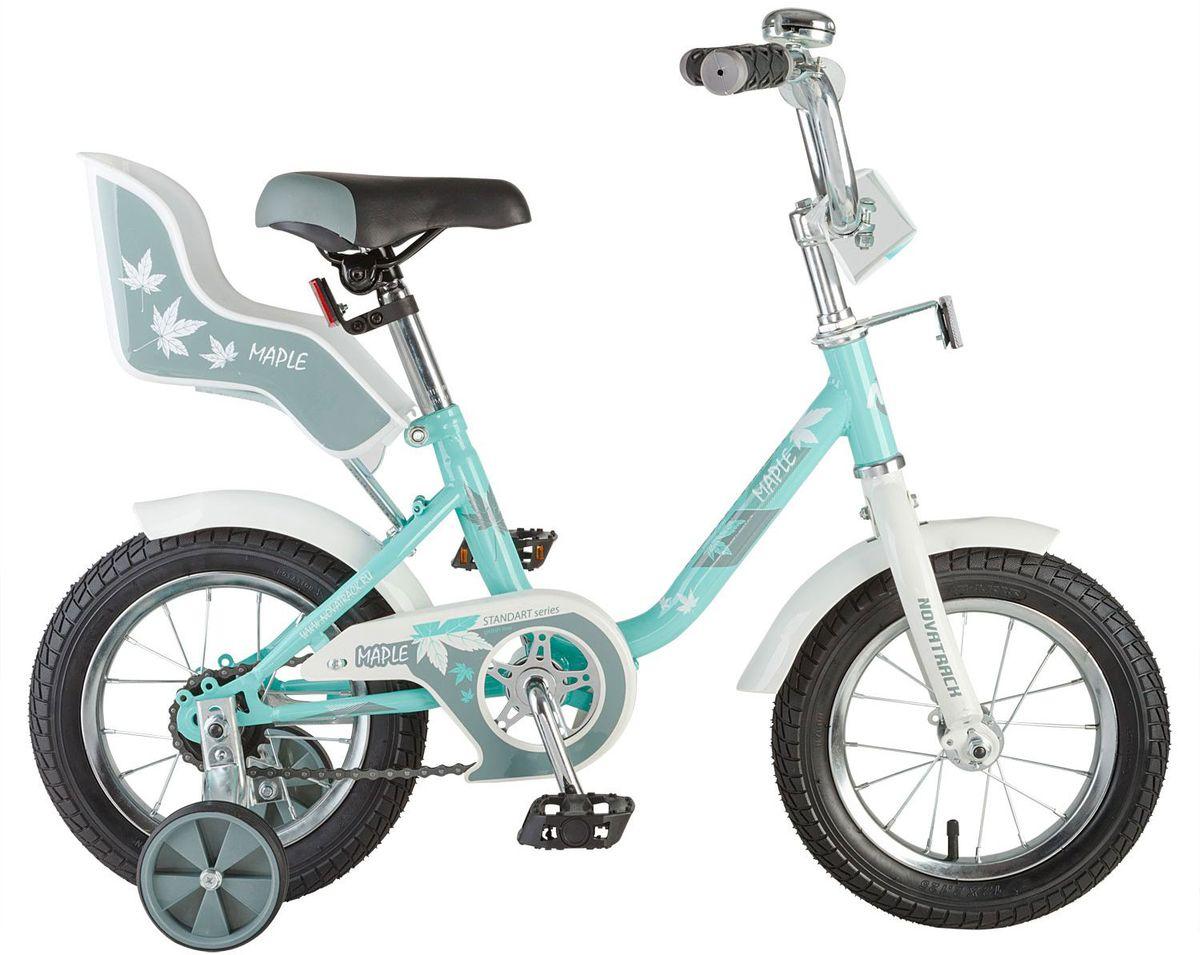 Novatrack Maple 12'' – это надежный велосипед для девочек 2-4 лет, на котором очень легко начинать обучение езде на велосипеде, и который обязательно станет предметом гордости маленькой леди. Регулируемые сидение и руль легко адаптируются под рост ребенка. Маленькие дополнительные колеса снимаются. Отличительная особенность этого велосипеда – это сидение для куклы, ведь как можно не взять с собой подругу на велопрогулку? Велосипед оснащен ножным тормозом, которым ребенку легко пользоваться, защитой цепи, которая убережет нижнюю часть одежды от попадания в механизм. Велосипед оборудован ограничителем поворота руля, который не позволит вывернуть руль на слишком большой градус, тем самым обезопасит ребенка от опрокидывания.    Какой велосипед выбрать? Статья OZON Гид
