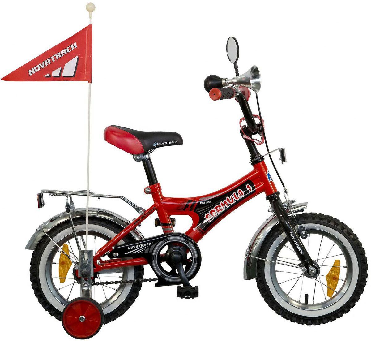Велосипед детский Novatrack Формула, цвет: красный, черный, 12125FORMULA.RD5Велосипед Novatrack Формула со стальной универсальной рамой имеет диаметр колес 12. Предназначен для детей в возрасте от 3 до 5 лет. Тип рамы удобен как для мальчиков, так и для девочек. Интегрированный ограничитель руля гарантирует безопасность вашему ребенку. Надувные колеса оснащены ниппелем под автомобильный насос. Модель имеет хромированные обода, крылья, багажник, а также цветные рукоятки руля, выполненные из мягкой резины. Задняя тормозная втулка и передний тормоз клещевого типа. Широкие поддерживающие колеса с резиновой внешней частью, усиленные кронштейны. Модель оснащена однокомпонентными шатунами. Высокий руль обеспечивает комфортную посадку. Имеется 4 отражателя : передний, задний и 2 на колесах. Цепь защищена, благодаря чему в нее не попадает одежда. Модель оснащена сигнальным гудком, зеркалом и флажком.Какой велосипед выбрать? Статья OZON Гид