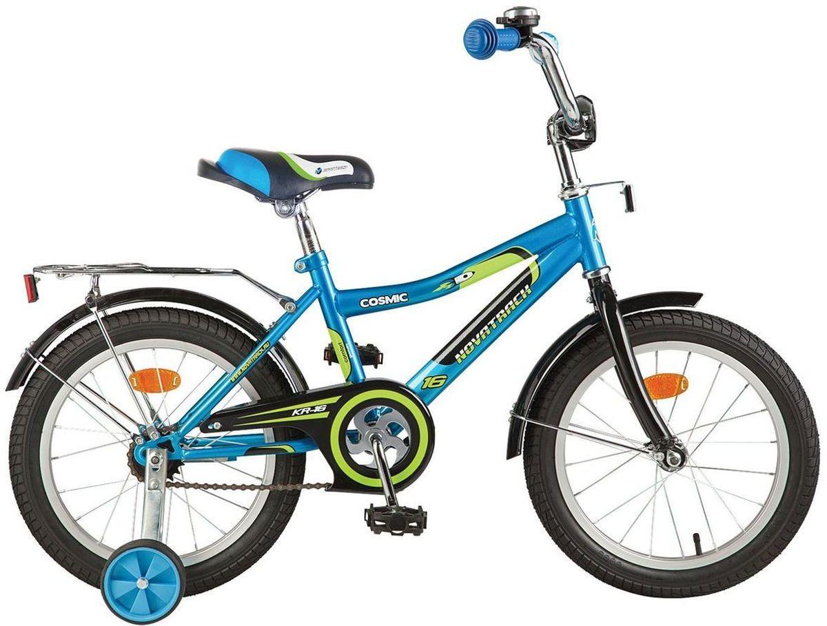 Велосипед детский Novatrack Cosmic, цвет: синий, зеленый, 14143COSMIC.BL7Велосипед Novatrack Cosmic – это абсолютно необходимая вещь для детей 3-5 лет. В этом возрасте у ребят очень большой уровень энергии, которую необходимо выплескивать с пользой для организма, да и кто же по доброй воле откажется от велосипеда, тем более такого, как Cosmic! Велосипед полностью укомплектован и обязательно понравится маленькому велосипедисту. Рама у велосипеда – стальная и очень прочная. Сиденье и руль регулируются по высоте и надежно фиксируются. Ножной задний тормоз не подведет ни на спуске, ни при экстренном торможении. В целях безопасности велосипед оснащен ограничителем руля, который убережет велосипед от опрокидывания при резком повороте. Дополнительную устойчивость железному коню обеспечивают два маленьких съемных колеса в цвет велосипеда. Не останутся незамеченными накладка на руль, яркие отражатели-катафоты, стильный звонок, защитный кожух для цепи, хромированный багажник, а также крылья, которые защитят от грязи и брызг.Какой велосипед выбрать? Статья OZON Гид