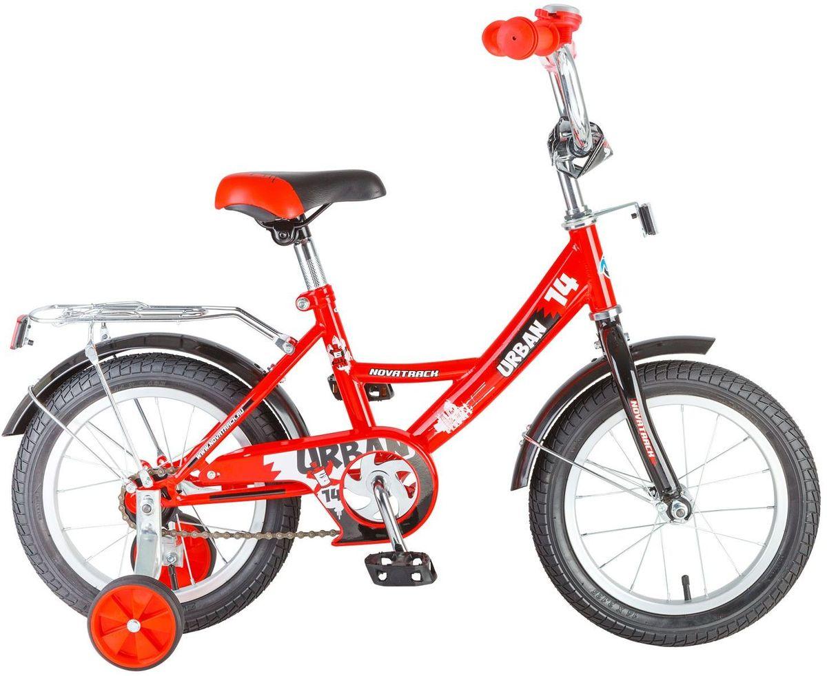 Велосипед детский Novatrack Urban, цвет: красный, 14143URBAN.RD6Велосипед Novatrack Urban c 14-дюймовыми колесамиэто надежный велосипед для ребят 3-5 лет. Высокое качество сборки гарантирует, что велосипед прослужит долго, даже если ваш ребенок будет гонять на нем ежедневно по несколько часов подряд. Велосипед оснащен защитой цепи, которая не позволит ногам и одежде попасть в механизм. Еще одно средство, способствующее безопасному вождению велосипеда в любых дорожных условияхограничитель поворота руля, который не позволит маленькому велосипедисту слишком сильно повернуть руль и таким образом создать себе все условия для неминуемого падения. Да и учиться ездить с таким приспособлением гораздо удобнее, ведь руль не крутится вокруг своей оси, а значит, и двигаться велосипед будет аккуратно и всегда именно туда, куда нужно. Велосипед оборудован багажникомобязательным атрибутом любого детского велосипеда, ведь как же еще перевозить свои игрушки и другие нужные мелочи во время прогулок Для безопасности установлено целых 4 светоотражателязадний, передний и по одному на каждом из основных колес. Колеса закрыты крыльями, которые защитят маленького наездника от грязи и брызг. А ножной тормоз позволит быстро остановиться, в случае необходимости.