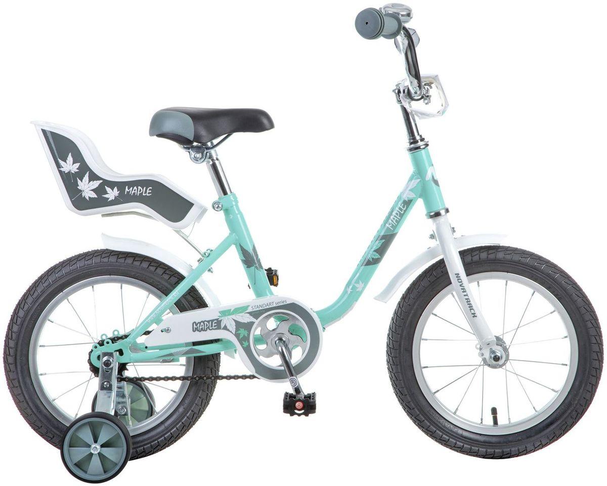 Велосипед детский Novatrack Maple, цвет: светло-зеленый, белый, 14144MAPLE.GR7Novatrack Maple 14'' – это надежный велосипед для девочек 3-5 лет, на котором очень легко начинать обучение езде на велосипеде, и который обязательно станет предметом гордости маленькой леди. Регулируемые сидение и руль легко подстраиваются под рост ребенка. Маленькие дополнительные колеса легко снимаются. Отличительная особенность велосипеда – это сидение для куклы, ведь как можно не взять с собой подругу на велопрогулку? Велосипед оснащен ножным тормозом, которым ребенку легко пользоваться, защитой цепи, которая убережет нижнюю часть одежды от попадания в механизм. Для того, чтобы привлечь внимание прохожих, на руль установлен красивый и блестящий звоночек, который оповестит зевак об обгоне.Какой велосипед выбрать? Статья OZON Гид