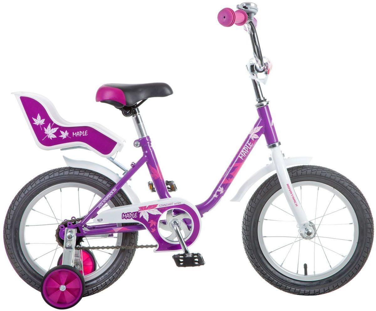 Велосипед детский Novatrack Maple, цвет: сиреневый, белый, 14144MAPLE.PR7Novatrack Maple - это надежный велосипед для девочек 3-5 лет, на котором очень легко начинать обучение езде на велосипеде и который обязательно станет предметом гордости маленькой леди. Регулируемые сидение и руль легко адаптируются под рост ребенка. Маленькие дополнительные колеса снимаются. Отличительная особенность этого велосипеда - это сидение для куклы, ведь как можно не взять с собой подругу на велопрогулку? Велосипед оснащен ножным тормозом, которым ребенку легко пользоваться, защитой цепи, которая убережет нижнюю часть одежды от попадания в механизм. Для того, чтобы привлечь внимание прохожих, на руль установлен красивый и блестящий звоночек, который оповестит зевак об обгоне.