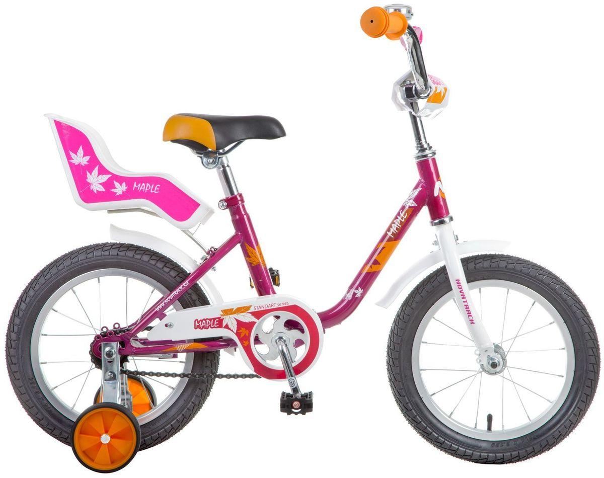 Велосипед детский Novatrack Maple, цвет: фуксия, белый, 14144MAPLE.RD7Novatrack Maple - это надежный велосипед для девочек 3-5 лет, на котором очень легко начинать обучение езде на велосипеде и который обязательно станет предметом гордости маленькой леди. Регулируемые сидение и руль легко адаптируются под рост ребенка. Маленькие дополнительные колеса снимаются. Отличительная особенность этого велосипеда - это сидение для куклы, ведь как можно не взять с собой подругу на велопрогулку? Велосипед оснащен ножным тормозом, которым ребенку легко пользоваться, защитой цепи, которая убережет нижнюю часть одежды от попадания в механизм. Для того, чтобы привлечь внимание прохожих, на руль установлен красивый и блестящий звоночек, который оповестит зевак об обгоне.Какой велосипед выбрать? Статья OZON Гид