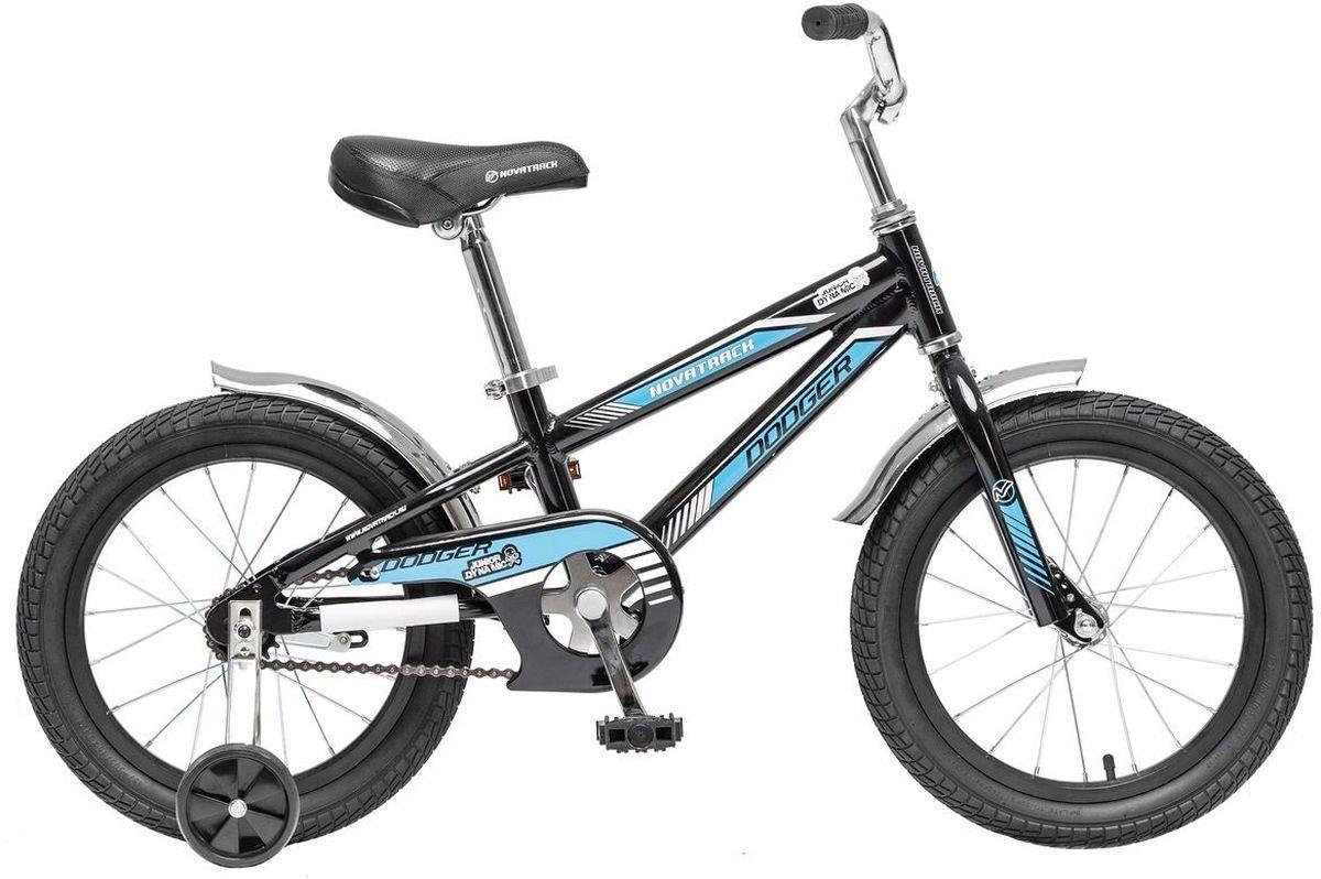 Велосипед детский Novatrack Dodger, цвет: черный, голубой, 16165ADODGER.BK5Novatrack Dodger разработан специально для мальчишек 5-7 лет. Это надежный и верный железный конь, с которым совершенно не стыдно показаться в приличном мальчишечьем обществе. Более того, такая техника станет предметом особой гордости юного велогонщика. Судите сами: легкая алюминиевая рама, регулируемые по высоте сиденье и руль, стильные хромированные крылья, внушительные колеса 16. Добавьте к этому серьезный велосипедный звонок, задний ножной тормоз, защиту цепи и катафоты – получается техника почти что представительского класса! Велосипед легкий, прочный и надежный, способный с честью пройти все краш-тесты, которые устроит ему юный владелец. Надежная конструкция, небольшой вес и хорошее качество сборки гарантируют вашему ребенку массу удовольствия и незабываемых приключений.