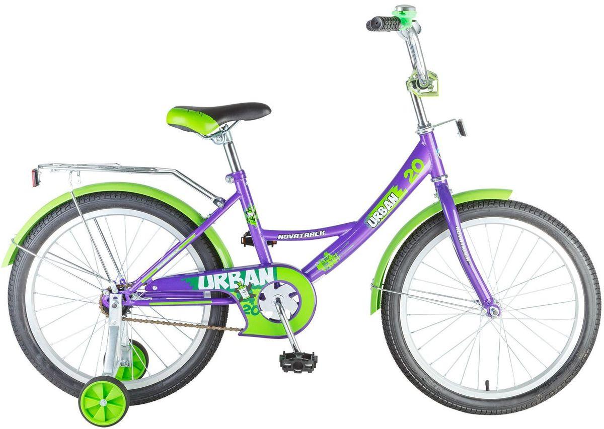 Велосипед детский Novatrack Urban, цвет: фиолетовый, зеленый, 20203URBAN.VL6Novatrack Urban c 20-дюймовыми колесами - это надежный велосипед для ребят 7-10 лет. Высокое качество сборки гарантирует, что велосипед прослужит долго, даже если ваш ребенок будет гонять на нем ежедневно по несколько часов подряд. Он оснащен защитой цепи, которая не позволит ногам и одежде попасть в механизм. Оборудован багажником - обязательным атрибутом любого детского велосипеда. Для безопасности установлено целых 4 светоотражателя: задний, передний и по одному на каждом из основных колес. Колеса закрыты крыльями, которые защитят ребенка от грязи и брызг. А ножной тормоз позволит быстро остановиться в случае необходимости.