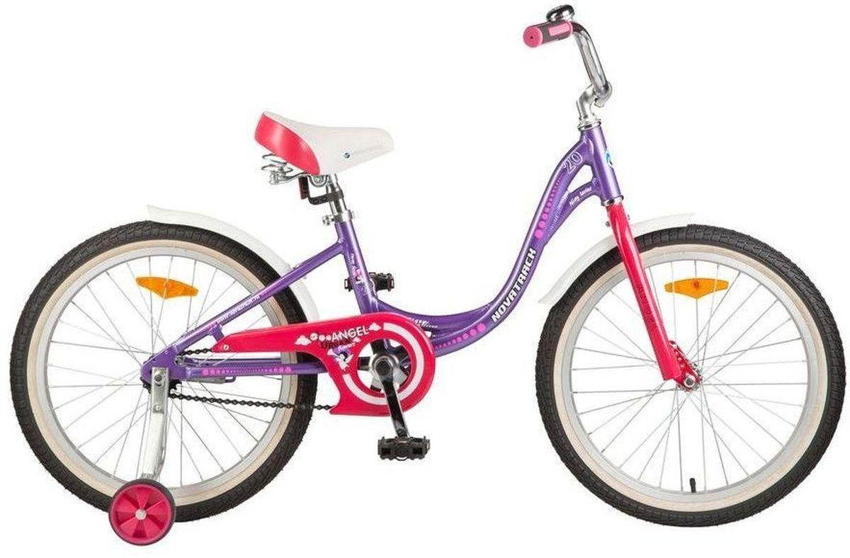 Велосипед детский Novatrack Angel, цвет: фиолетовый, белый, 20205AANGEL.VL7Novatrack Angel- это современный, удобный и безопасный велосипед для девочек 7-10 лет. Форма рамы разработана специально для девочек. Им очень удобно забираться на сидение и слезать с велосипеда в любом наряде, а также комфортно крутить педали в платьице или брюках. Материал рамы - алюминий, благодаря чему велосипед очень легкий, и ребенок без труда сможет управляться со своим велосипедом. На руле велосипеда установлен звоночек с приятным звуком, чтобы предупредить зазевавшихся прохожих о приближающимся картеже принцессы. А в темное время суток заметить транспортное средство помогут светоотражатели, которые установлены, по одному, на каждом из колес, на руле и сидении. Изящные крылья защитят маленькую велосипедистку от грязи и брызг. А ножной тормоз поможет быстро остановиться в случае необходимости.