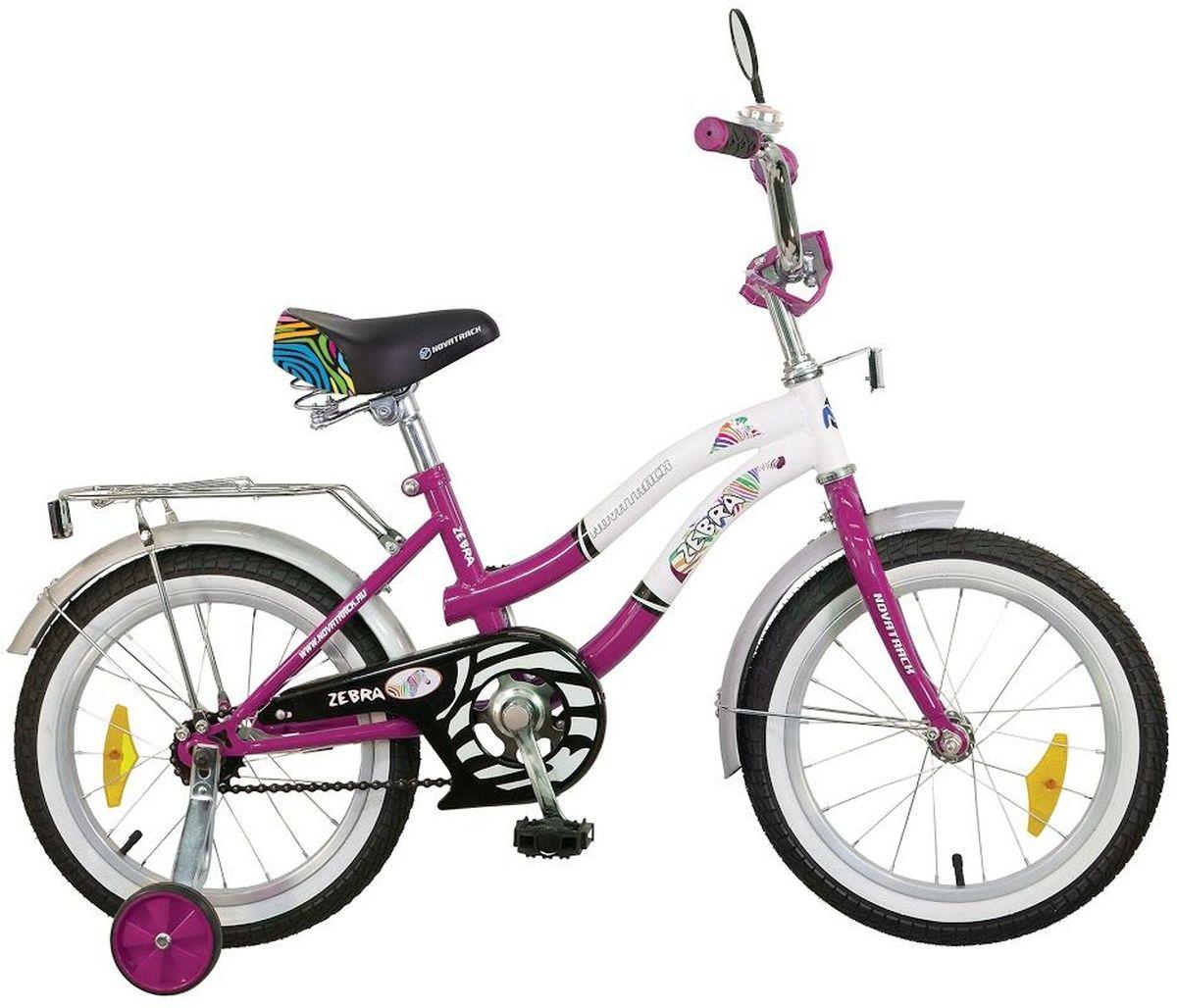 Велосипед детский Novatrack Зебра, цвет: сливовый, белый, 20205ZEBRA.CLR6Novatrack Зебра c 20-дюймовыми колесами - это надежный велосипед для ребят от 7 до 10 лет. Данная модель специально разработана для начинающих велосипедистов: дополнительные колеса, которые можно будет снять, когда ребенок научится держать равновесие, блестящий багажник для перевозки игрушек, надежный ножной тормоз, защита цепи от попадания одежды в механизм - все это сделает каждую поездку юного велосипедиста комфортной и безопасной. Маленькому велосипедисту, будь то мальчик или девочка, обязательно понравятся блестящий звонок и зеркальце заднего вида, которые установлены на руле велосипеда. Высота сидения и руля регулируются, поэтому велосипед прослужит ребенку не один год.Какой велосипед выбрать? Статья OZON Гид