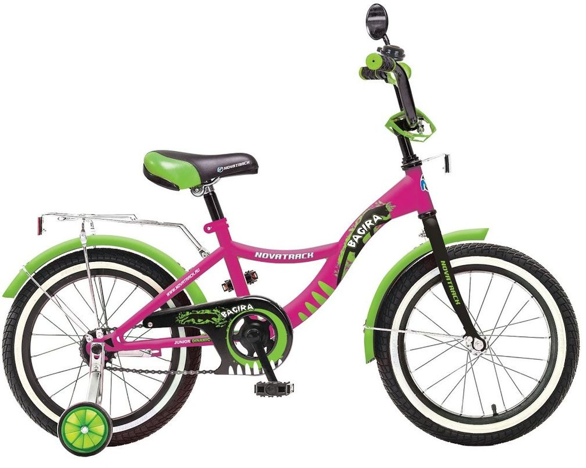 Велосипед детский Novatrack Багира, цвет: розовый, зеленый, 20207BAGIRA.PN6Велосипед Novatrack Багира с 20-дюймовыми колесами - это современный, удобный и безопасный велосипед для девочек от 7 до 10 лет. Велосипед укомплектовали мягким регулируемым седлом, которое обеспечит удобную посадку во время катания. Руль велосипеда также регулируется по высоте и наклону, благодаря чему велосипед прослужит ребенку не один год. Данная модель маневренна и легка в управлении, поэтому ребенку будет просто и интересно учиться кататься на велосипеде. По бокам имеются съемные дополнительные колеса, которые нужны до тех пор, пока ребенок не почувствует себя уверенно. Быстро затормозить поможет ножной тормоз. Для перевозки девчачьих аксессуаров и всяких нужностей велосипед оснастили багажником. На руле установлен звонкий гудок и зеркальце, без которого не может обойтись ни одна модница. Над колесами располагаются хромированные крылья, которые защитят от брызг и грязи.