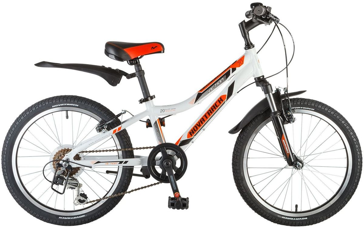 Велосипед детский Novatrack Action, цвет: белый, оранжевый, черный, 20