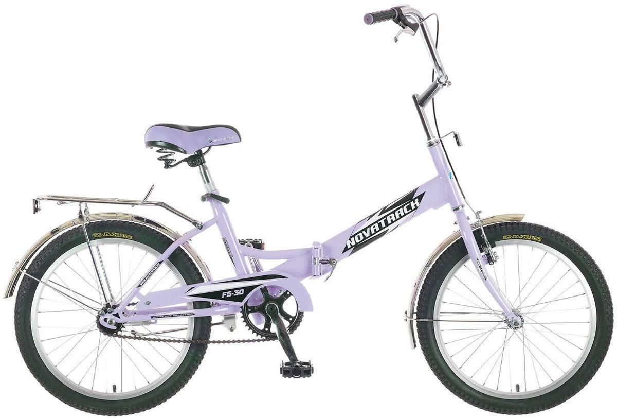 Велосипед детский Novatrack FS-30, цвет: светло-сиреневый, белый, черный, 20