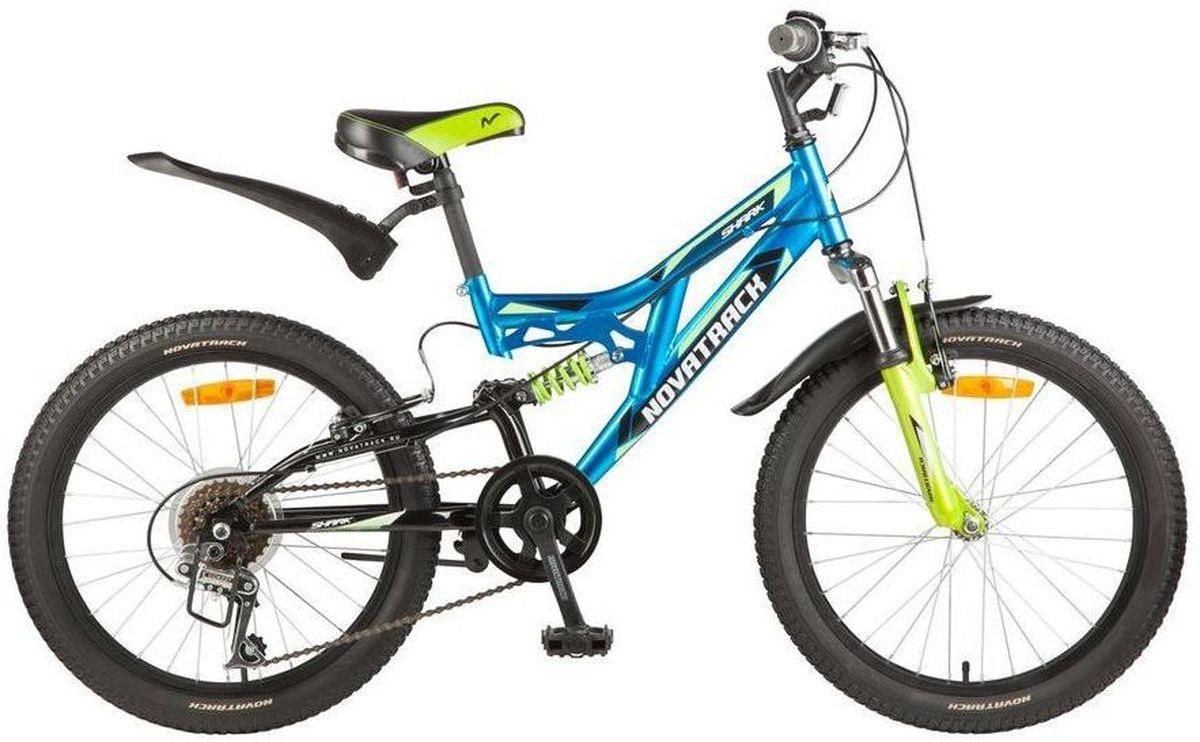 Велосипед детский Novatrack Shark, цвет: синий, зеленый, 2020SS6V.SHARK.BL7Велосипед Novatrack Shark - это мечта любого мальчишки 7-10 лет. Это легко управляемый велосипед-двухподвес, который станет предметом гордости и постоянным спутником во время летних прогулок. Велосипед укомплектован по полной программе: передний и задний амортизаторы, 6 скоростей, надежные тормоза типа V-brake, катафоты и крылья. Он оснащен мягким регулируемым седлом, которое обеспечит удобную посадку во время катания. Руль велосипеда также регулируется по высоте, благодаря чему он долго будет соответствовать росту ребенка. Novatrack Shark отлично подойдет для катания не только во дворе, но и в парках, а также за городом.