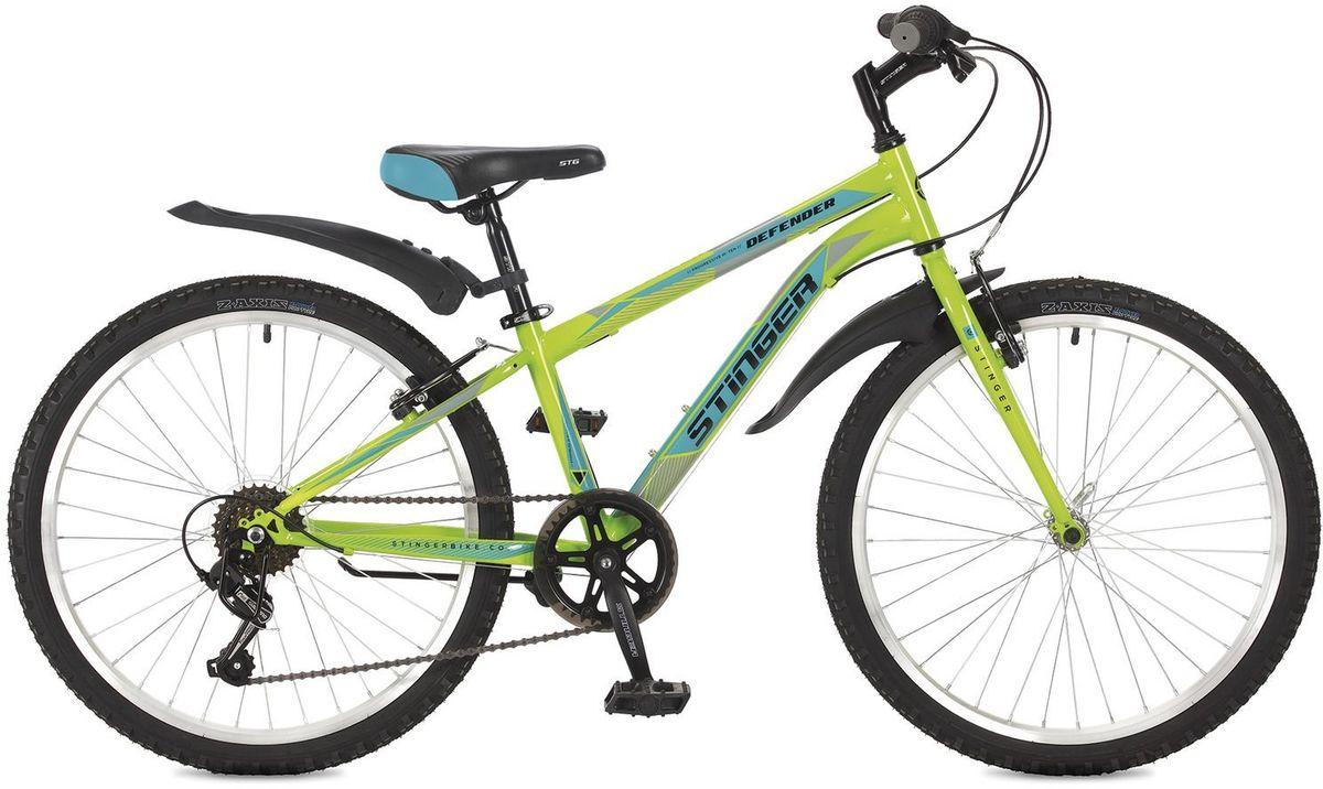 Велосипед горный Stinger Defender, подростковый, цвет: зеленый, 2424SHV.DEFEND.12GN7Велосипед Stinger Defender - надежный и простой хардтейл для активного катания. Неприхотливый в обслуживании, великолепный в управлении и отлично подойдет для велопрогулок в парковой зоне. А благодаря оптимально спроектированной конструкции обеспечит комфортную езду на дальние расстояния. Жесткая конструкция вилки позволяет эффективно использовать энергию педалирования, обеспечивая лучший разгон. 6-скоростная трансмиссия Shimano Tourney гарантирует четкую и гладкую работу во время активной езды.