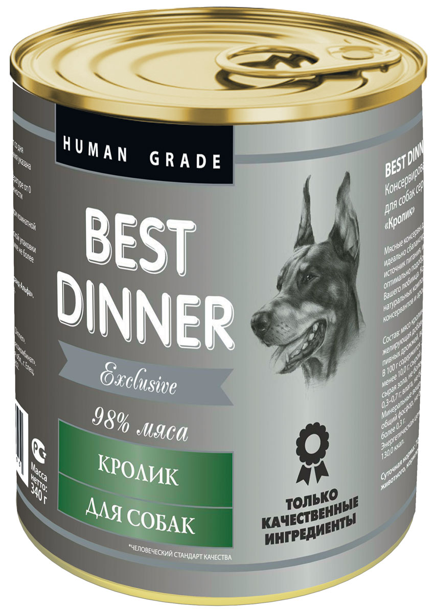 Консервы для собак Best Dinner Эксклюзив, с кроликом, 340 г74021Мясные консервы для собак Best Dinner - идеально сбалансированный, полноценный источник питания, ингредиенты которого оптимально подобраны исходя из нужд вашего любимца. Корм изготовлен из натуральных компонентов без красителей, консервантов и ароматизаторов.Состав: мясо кролика, масло подсолнечное, желирующая добавка, соль, автолизат пивных дрожжей, вода питьевая.В 100 г содержится: сырой протеин, не менее 10,0 г; сырой жир, не более 10,0 г; сырая зола, не более 2,0 г; поваренная соль 0,3–0,7 г; влага, не более 85 %.Минеральные вещества в 100 г продукта: общий фосфор, не более 0,5 г; кальций, не более 0,3 г.Энергетическая ценность 100 г продукта: 130,0 ккал.Условия хранения: при температуре от 0 до 25 °C и относительной влажности воздуха не более 75 %.Рекомендуется употреблять при комнатной температуре.После вскрытия потребительской упаковки продукт хранить в холодильнике не более 2 суток.Суточная норма: 70–90 г на 1 кг веса животного, кормление в два приема. Товар сертифицирован.