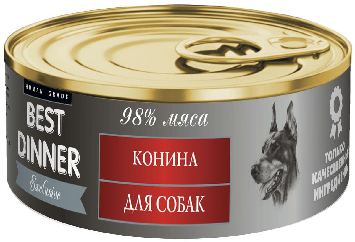 Консервы для собак Best Dinner Эксклюзив, с кониной, 100 г74030Консервированный деликатесный корм для собак с чувствительным пищеварением на основе мяса конины и говядины. Без добавления сои, ароматизаторов и консервантов. Состав: конина, масло подсолнечное, желирующая добавка, соль, автолизат пивных дрожжей, вода питьевая.В 100 г. содержится: сырой протеин, не менее 12,0 г; сырой жир, не более 7,0 г; сырая зола, не более 2,0 г; поваренная соль 0,3 - 0,7 г ; влага, не более 85%.Витамины: А, D3, Е.Минеральные вещества в 100 г. продукта: общий фосфор, не более 0,5 г; кальций, не более 0,3 г. Товар сертифицирован.
