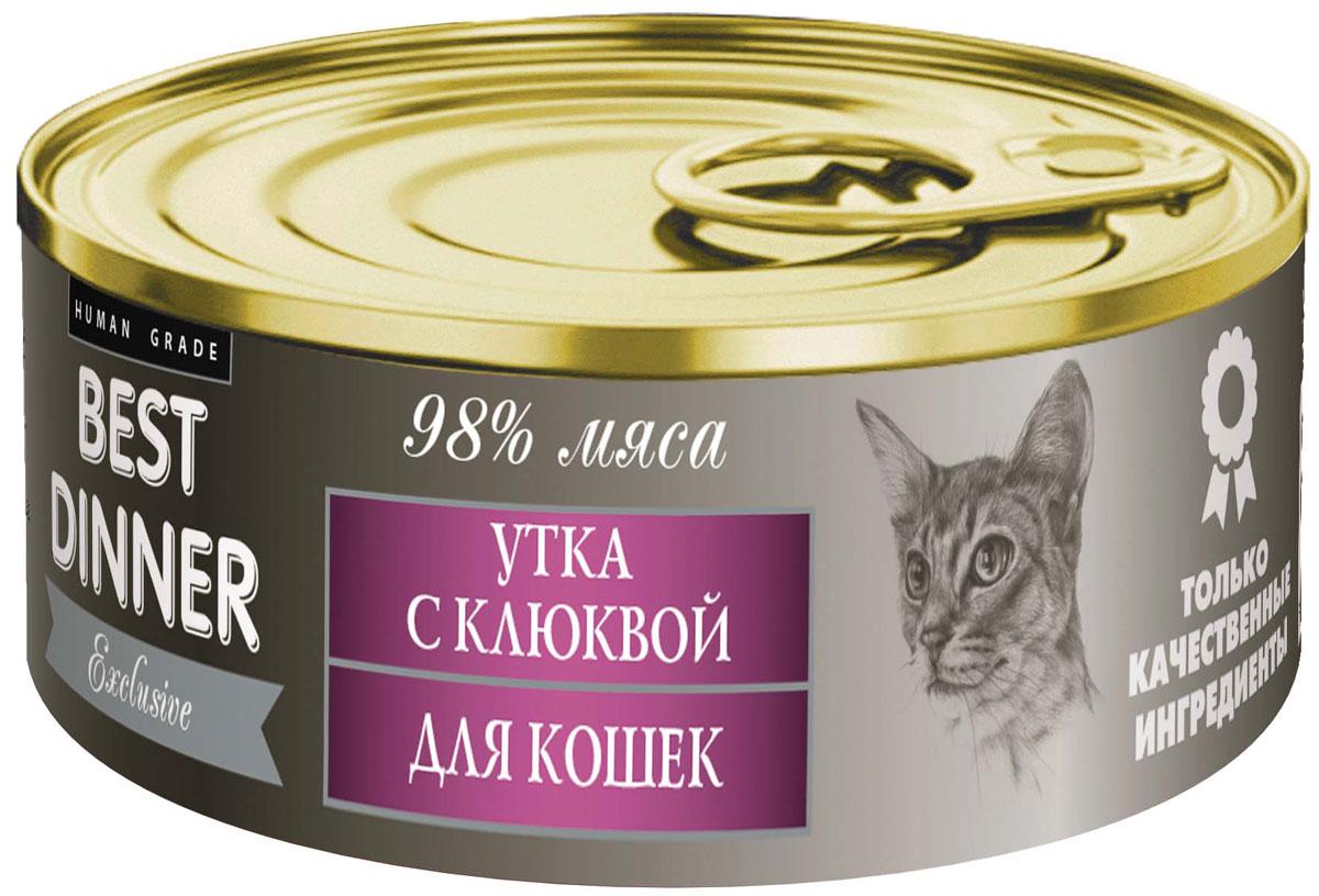 Консервы для кошек Best Dinner Эксклюзив, с уткой и клюквой, 100 г74018Мясные консервы для кошек Best Dinner - продукты наивысшего качества, обладают изысканным вкусом, сбалансированным составом для правильного питания и здоровой жизни кошки. Изготовлены только из натуральных компонентов без искусственных красителей, консервантов и ароматизаторов.Состав: мясо утки, клюква, масло подсолнечное, желирующая добавка, таурин, соль, автолизат пивных дрожжей, вода питьевая.В 100 г содержится: сырой протеин, не менее 9,0 г; сырой жир, не более 9,5 г; сырая зола, не более 2,0 г; таурин 0,2 г; поваренная соль 0,3–0,7 г; влага, не более 85 %.Минеральные вещества в 100 г продукта: общий фосфор, не более 0,5 г; кальций, не более 0,3 г.Энергетическая ценность 100 г продукта: 121,5 ккал.Условия хранения: при температуре от 0 до 25 °C и относительной влажности воздуха не более 75 %.Рекомендуется употреблять при комнатной температуре.После вскрытия потребительской упаковки продукт хранить в холодильнике не более 2 суток.Суточная норма: 30–50 г на 1 кг веса животного, кормление в два приема. Товар сертифицирован.