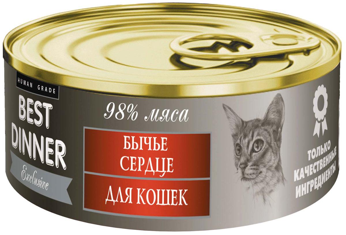 Консервы для кошек Best Dinner Эксклюзив, с бычьим сердцем, 100 г74059Мясные консервы для кошек Best Dinner - продукты наивысшего качества, обладают изысканным вкусом, сбалансированным составом для правильного питания и здоровой жизни кошки. Изготовлены только из натуральных компонентов без искусственных красителей, консервантов и ароматизаторов.Состав: сердце, масло подсолнечное, желирующая добавка, таурин, соль, автолизат пивных дрожжей, вода питьевая.В 100 г содержится: сырой протеин, не менее 11,0 г; сырой жир, не более 7,0 г; сырая зола, не более 2,0 г; таурин 0,2 г; поваренная соль 0,3–0,7 г; влага, не более 85 %.Минеральные вещества в 100 г продукта: общий фосфор, не более 0,5 г; кальций, не более 0,3 г.Энергетическая ценность 100 г продукта: 107,0 ккал.Условия хранения: при температуре от 0 до 25 °C и относительной влажности воздуха не более 75 %.Рекомендуется употреблять при комнатной температуре.После вскрытия потребительской упаковки продукт хранить в холодильнике не более 2 суток.Суточная норма: 30–50 г на 1 кг веса животного, кормление в два приема. Товар сертифицирован.