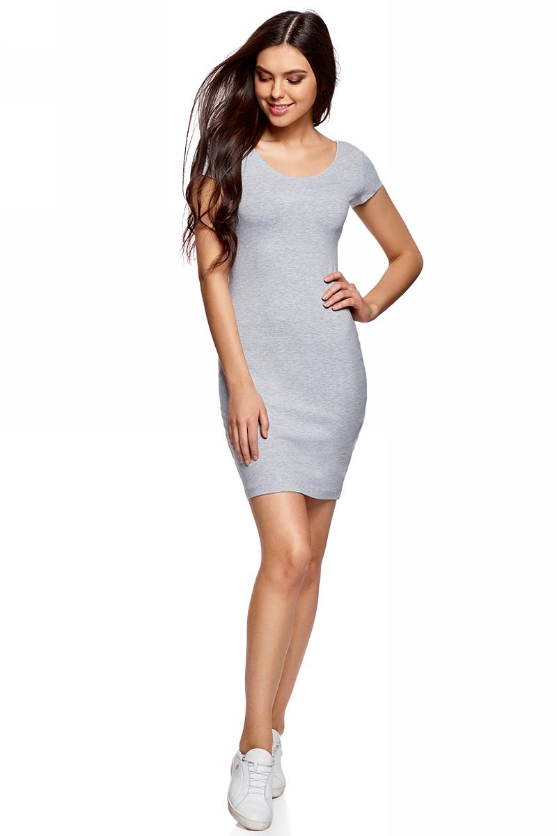 Платье oodji Collection, цвет: светло-серый меланж. 24001082-2B/47420/2000M. Размер L (48) платье oodji collection цвет голубой белый горох 24001082 2 47420 7010d размер l 48