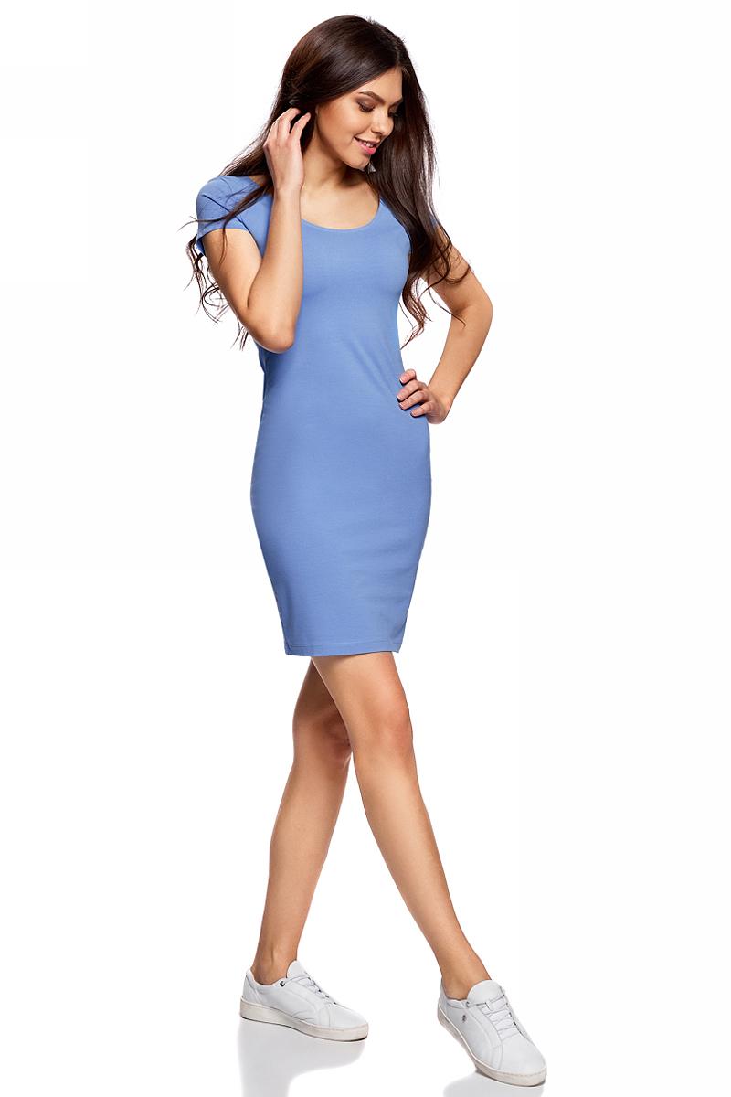 Платье oodji Collection, цвет: ярко-голубой. 24001082-2B/47420/7502N. Размер XS (42)24001082-2B/47420/7502NПлатье от oodji облегающего силуэта с глубоким вырезом на спине выполнено из эластичного хлопка. Модель с короткими рукавами.