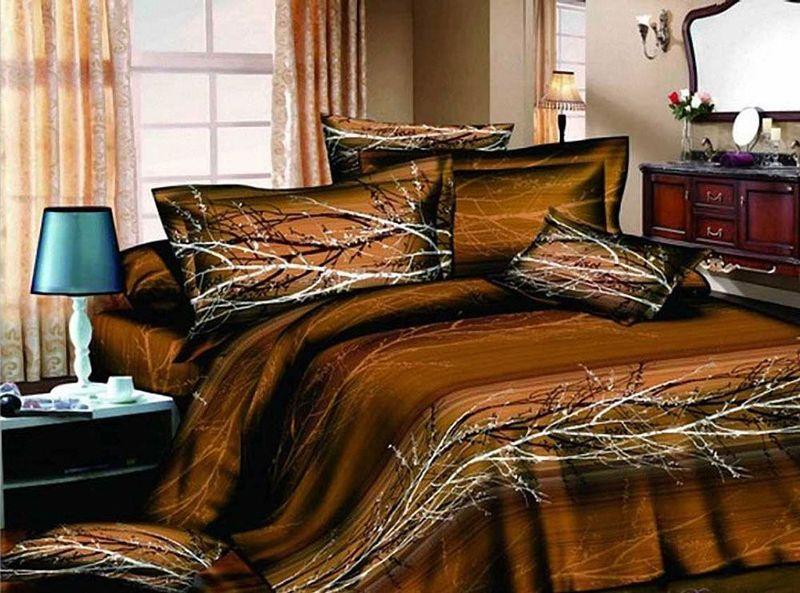 """Комплект постельного белья МарТекс """"Осень"""", выполненный из сатина (100% хлопок), состоит из пододеяльника, простыни и двух наволочек.   Изделия оформлены оригинальным принтом.   Сатин - прочная, легкая и мягкая на ощупь ткань. Белье из него не  линяет при стирке и легко гладится. Эта ткань традиционно считается  одной из лучших для изготовления постельного белья.  Такой комплект подойдет для любого стилевого и цветового решения интерьера, а также создаст в доме уют.   Приобретая комплект постельного белья МарТекс, вы можете быть уверенны в том, что покупка  доставит вам и вашим близким удовольствие и подарит максимальный комфорт.    Советы по выбору постельного белья от блогера Ирины Соковых. Статья OZON Гид"""