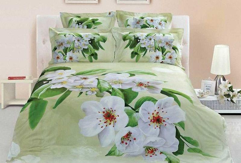 """Комплект постельного белья МарТекс """"Цветение"""", выполненный из сатина (100% хлопок), состоит из пододеяльника, простыни и двух наволочек. Изделия оформлены оригинальным принтом.   Сатин - прочная, легкая и мягкая на ощупь ткань. Белье из него не  линяет при стирке и легко гладится. Эта ткань традиционно считается  одной из лучших для изготовления постельного белья.  Такой комплект подойдет для любого стилевого и цветового решения интерьера, а также создаст в доме уют.   Приобретая комплект постельного белья МарТекс, вы можете быть уверенны в том, что покупка  доставит вам и вашим близким удовольствие и подарит максимальный комфорт.  Советы по выбору постельного белья от блогера Ирины Соковых. Статья OZON Гид"""