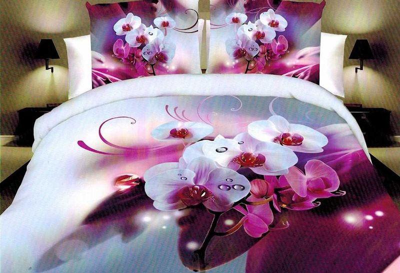 Комплект белья МарТекс Милая орхидея, 1,5-спальный, наволочки 70х70 двуспальный комплект белья орхидея 3d 5067 1 вологодские кружева