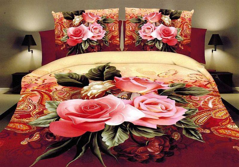 Комплект белья МарТекс, евро, наволочки 70х70, цвет: бежевый, красный, розовый. 01-1464-3