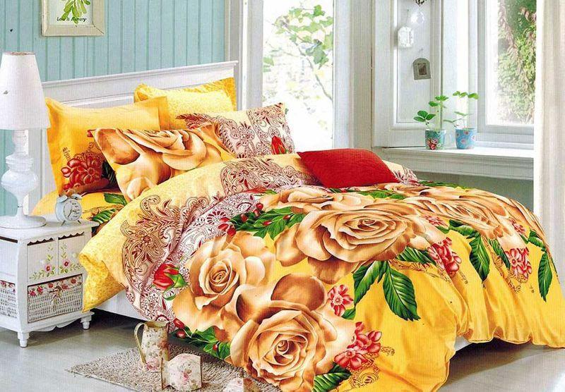 Комплект белья МарТекс, 1,5-спальный, наволочки 70х70. 01-1495-101-1495-1Комплект постельного белья МарТекс, выполненный из микрополиэстера, состоит из пододеяльника, простыни и двух наволочек. Изделия оформлены оригинальным цветочным принтом.Такой комплект подойдет для любого стилевого и цветового решения интерьера, а также создаст в доме уют.