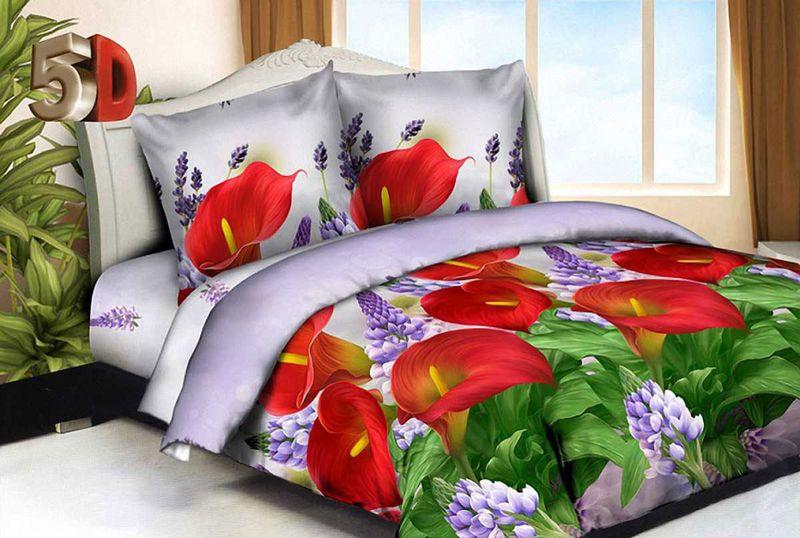 Комплект белья МарТекс Красные каллы, 1,5-спальный, наволочки 70х70 комплект белья в киеве круглосуточно