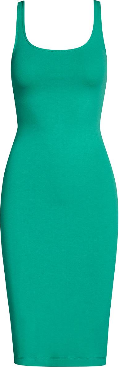 Платье oodji Ultra, цвет: изумрудный. 14015007-2B/47420/6D00N. Размер S (44)14015007-2B/47420/6D00NЛегкое обтягивающее платье oodji Ultra, выгодно подчеркивающее достоинства фигуры, выполнено из качественного эластичного хлопка. Модель миди-длины с круглым вырезом горловины и узкими бретелями дополнена разрезом на юбке с задней стороны. Мягкая ткань приятна на ощупь и комфортна в носке.