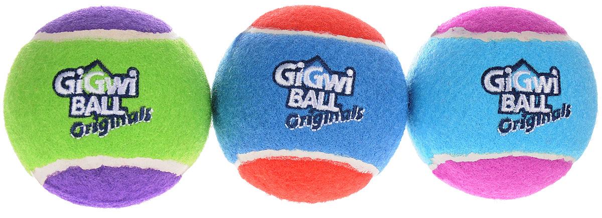 Игрушка для собак GiGwi Мячи, с пищалкой, диаметр 4 см, 3 шт. 75340 игрушка для собак gigwi резиновая цепь длина 18 см