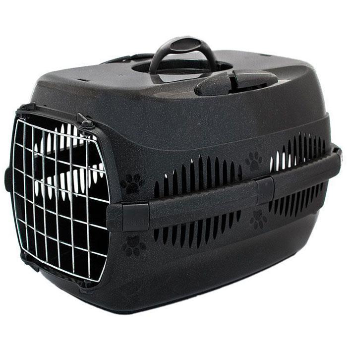 Переноска для животных  ZooM. Спутник , с металлической дверцей, до 12 кг, цвет: черный, 33 х 49 х 32 см - Переноски, товары для транспортировки