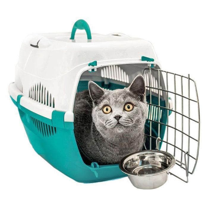 Переноска для животных  ZooM. Спутник , с металлической дверцей, до 12 кг, цвет: бирюзовый, белый, 30 х 49 х 32 см - Переноски, товары для транспортировки