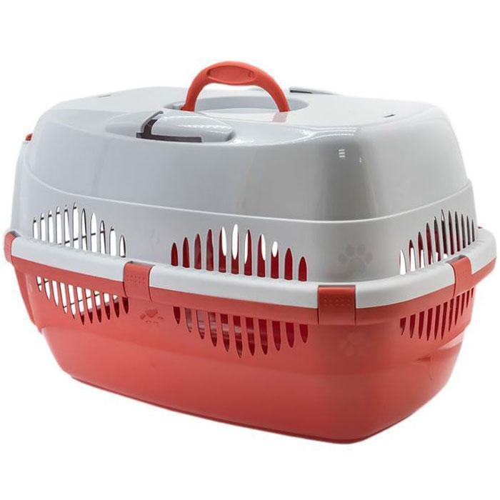 Переноска для животных  ZooM. Спутник , с металлической дверцей, с наплечным ремнем, до 12 кг, цвет: красный, серый, 33 х 49 х 32 см - Переноски, товары для транспортировки
