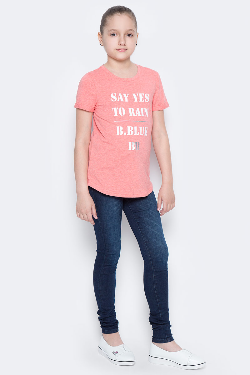 Футболка для девочки Button Blue Main, цвет: коралловый. 117BBGC12012200. Размер 116, 6 лет117BBGC12012200Футболка - не только базовая вещь в гардеробе ребенка, но и залог хорошего летнего настроения. Если вы решили купить недорогую белую футболку для девочки, выберете модель футболки с оригинальным принтом, и ваш ребенок будет доволен.