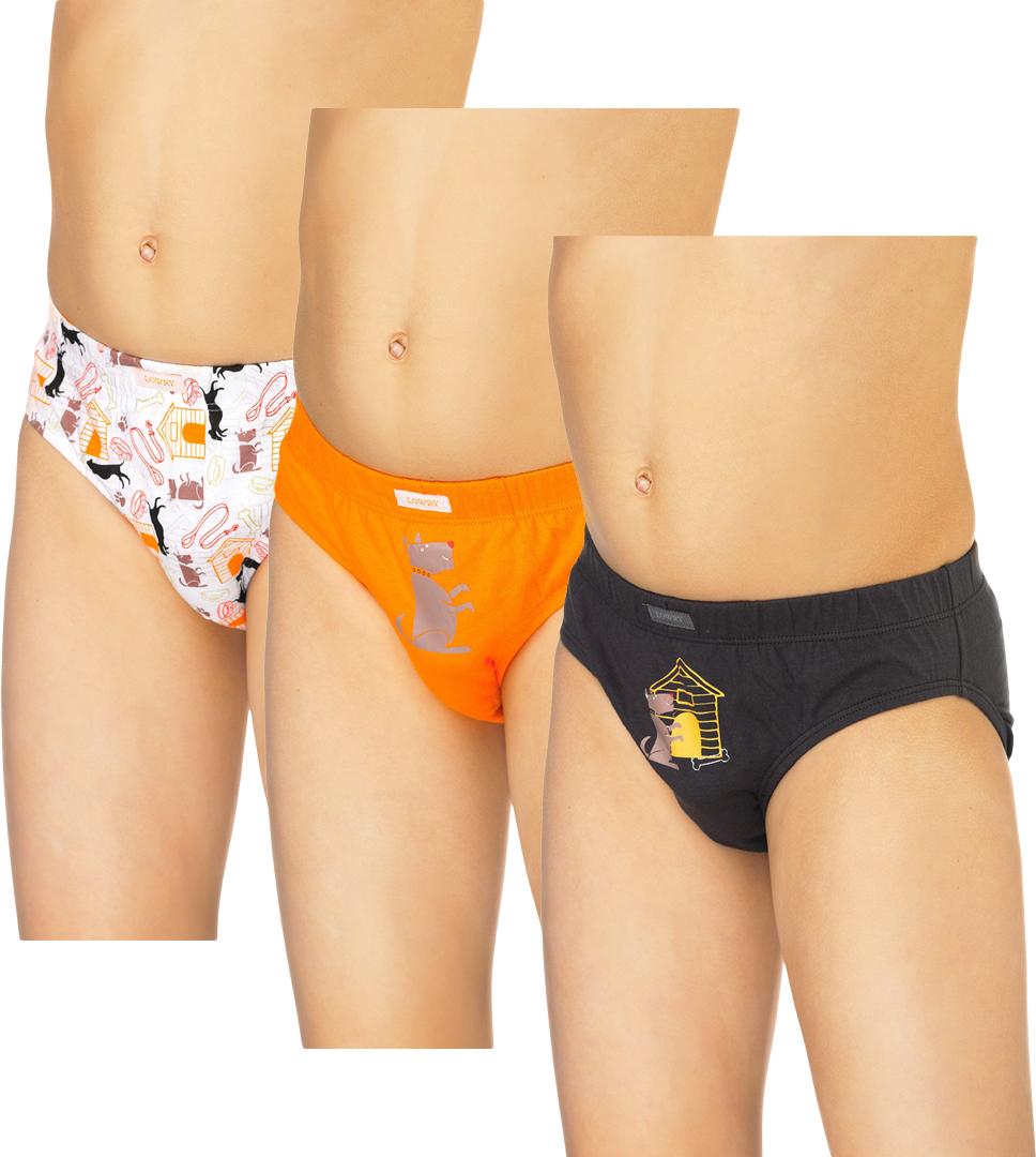 Трусы для мальчика Lowry, цвет: белый, оранжевый, черный, 3 шт. BB-307. Размер XS (92/98) трусы для девочки lowry цвет белый оранжевый 3 шт gp 270 размер xxs 86 92