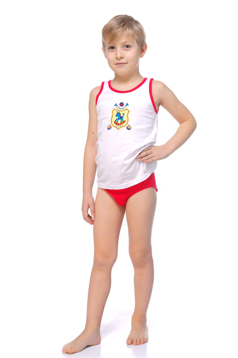 Майка для мальчика Lowry, цвет: белый, красный. BM-316. Размер XL (134/140)BM-316Майка для мальчика Lowry выполнена из натурального хлопка. Модель с круглым вырезом горловины оформлена оригинальным принтом.