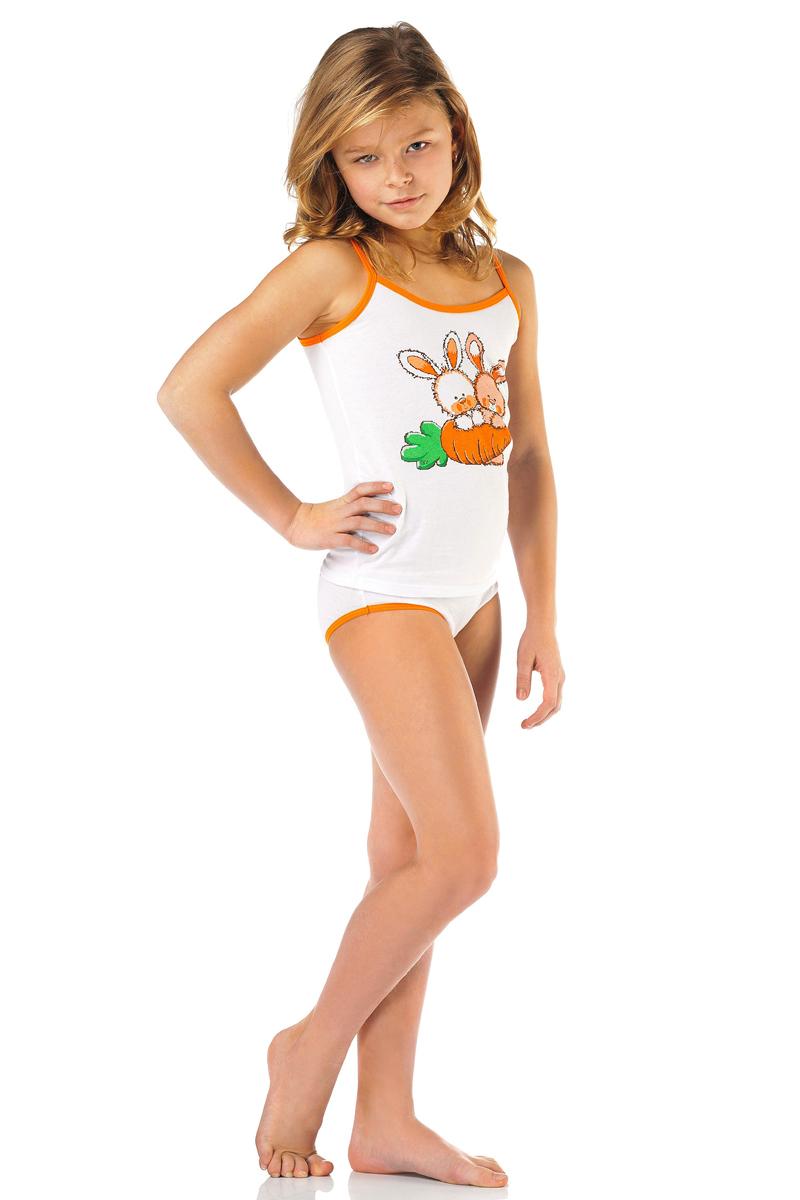 Комплект для девочки: трусы, майка Lowry, цвет: белый. GM/GP-269. Размер XXS (86/92) трусы для девочки lowry цвет белый оранжевый 3 шт gp 270 размер xxs 86 92