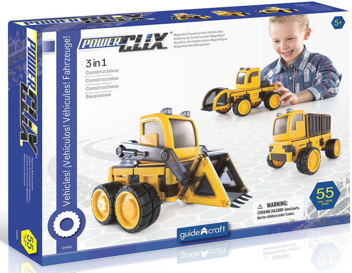GuideCraft Магнитный конструктор PowerClix Vehicle Set конструкторы guidecraft магнитный powerclix organics 100 деталей
