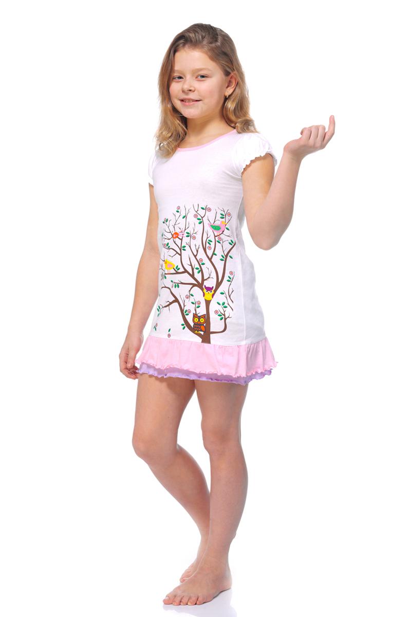 Ночная рубашка для девочки Lowry, цвет: белый. GNG-5. Размер XXS (86/92) плавки мужские lowry цвет черный фиолетовый msb 1 размер l 48