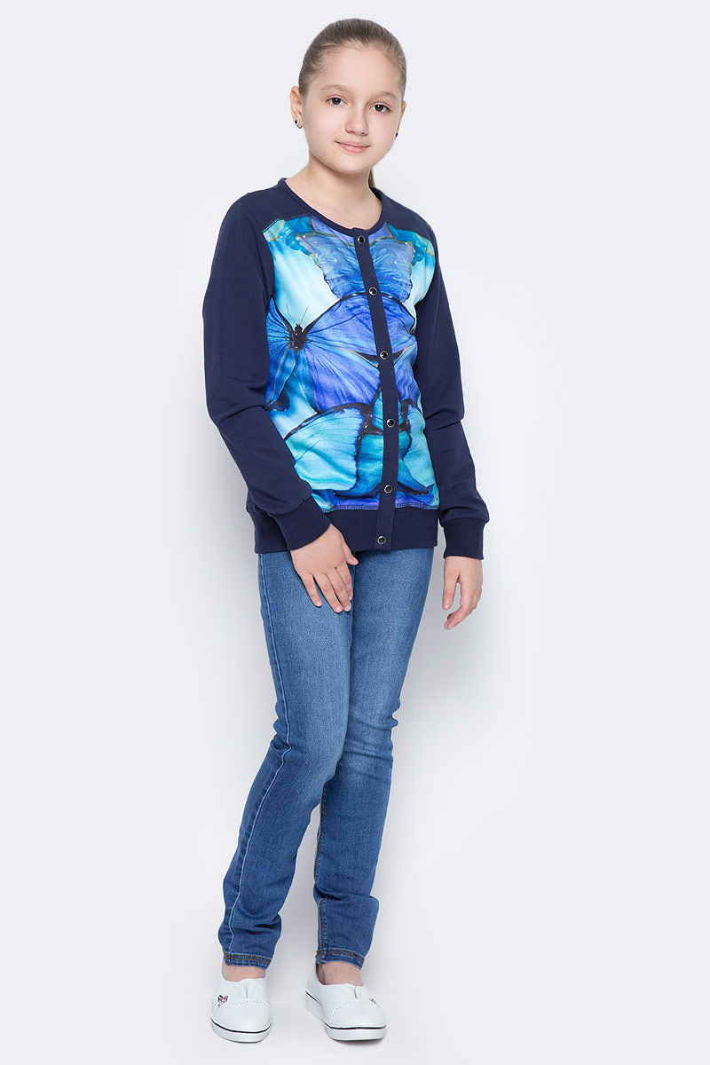Жакет для девочки Luminoso, цвет: синий. 718036. Размер 134718036Трикотажный жакет для девочки декорирован красивым принтом, застегивается на пуговки.