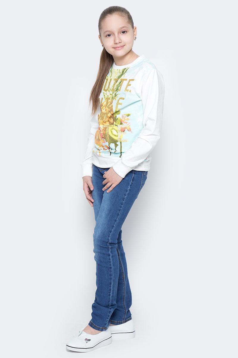 Толстовка для девочки Luminoso, цвет: белый. 718075. Размер 152718075Трикотажная толстовка для девочки, декорированная цветочной аппликацией.