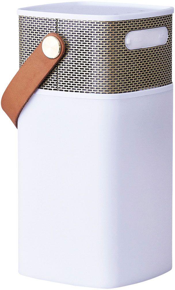 Kreafunk aGLOW, White Gold беспроводная портативная колонкаKfhs09aGLOW – это не только мощная портативная колонка, но еще и стильный светильник. В корпус встроен микрофон для совершения hands free звонков, а также предусмотрен диммер, позволяющий регулировать и настраивать световое сопровождение. Колонка совместима с любым смартфоном или устройством, оснащенным Bluetooth-гарнитурой. Основной плюс колонки - до 20 часов работы без подзарядки. Можно наслаждаться любимой музыкой целый день! Колонка aGLOW станет стильным дополнением в интерьере гостиной или офиса, а также будет идеальным компаньоном на пикнике, в походе или на outdoor вечеринке. Благодаря водонепроницаемому корпусу колонку можно использовать на улице даже в непогоду.Поставляется в стильной деревянной упаковке, украшенной словами Луи Армстронга: «Вся музыка создана людьми. Я никогда не слышал, чтобы лошадь пела песни».Технические характеристики:Встроенный перезаряжаемый литиевый аккумулятор с емкостью 4400 мA/чДвухрежимная опция: Bluetooth & line-inДиапазон воспроизводимых частот: 20-20 кГцМощность: 5Вт * 1Сопротивление колонок: 4 Ом (?)Водозащитный уровень IPX4Панель управления: воспроизвести/остановить, предыдущая/следующая запись, прибавить/убавить громкость, включить/выключить и регулятор led-светаПродолжительность зарядки – 4-6 часовBluetooth версия 2.0Время воспроизведения музыки: до 20 часов (через bluetooth) или 20 часов в качестве светильникаИсточник питания: встроенный литиевый аккумулятор или адаптер Продолжительность зарядки: около 8 часовInput: 5В/1A Output: 5В/1AUSB-кабель для зарядки и кабель для линейного входа в комплекте