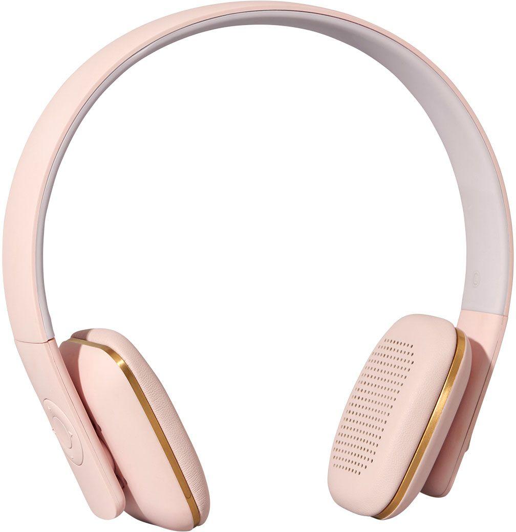 Kreafunk aHEAD, Light Pink наушникиKfss06Kreafunk aHEAD - беспроводные наушники, созданные для настоящих меломанов и модников. Это не только полезный гаджет, но и стильный аксессуар, который дополнит имидж и подчеркнет индивидуальность. Наушники оснащены Bluetooth-гарнитурой и совместимы с любым смартфоном. Панель управления находится на одном из наушников, что позволяет легко регулировать музыку, уровень громкости или даже принимать телефонные звонки. Подушки наушников выполнены из мягкой эко-кожи, а настраиваемый ободок имеет приятное покрытие soft touch. Великолепное качество звука, простота эксплуатации и лаконичный дизайн - этим гаджетом захочется пользоваться изо дня в день. В комплекте фирменный мешочек из PU кожи. Поставляются в стильной деревянной упаковке, поэтому могут стать отличным подарком меломанам и всем поклонникам скандинавского дизайна. Также коробку украшают слова Фридриха Ницше: Без музыки жизнь была бы ошибкой.