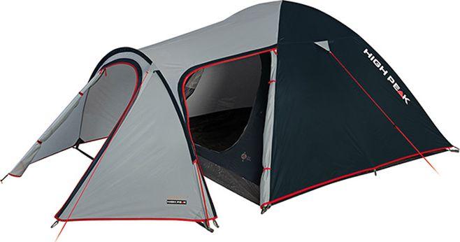 Палатка High Peak Kira 4, цвет: светло-серый, темно-серый, 340 х 240 х 130 см. 1021510215High Peak Kira 4 - это, пожалуй, самая комфортная палатка для путешествий с большим количеством снаряжения или велосипедами. Отлично подойдет для семейного отдыха, сплавов и даже на замену кемпинговой палатке. Выносная дуга формирует обширный тамбур для любого снаряжения, в том числе и кухни. Просторная спальня в 5 м2 комфортна для целой семьи. Палатка легко устанавливается за 5-7 минут. Сначала устанавливается внутренняя палатка из паропроницаемого материала. Если погода жаркая, и дождя не предвидится, то можно спать без внешнего тента. Если надо защититься от ветра и дождя, накиньте внешний тент и проденьте третью дугу в рукав тента. Материал тента имеет полиуретановое покрытие и водонепроницаемость не менее 3000 мм водяного столба. Это позволяет защититься от сильного ветра и дождя. Все швы проклеены термоусадочной лентой, гарантировано защищающей от проникновения влаги сквозь швы. При фиксации всех пяти оттяжек палатка имеет высокую ветроустойчивость. Окно для лучшей вентиляции находится в верхней точке купола палатки. Во внутренней палатке имеются кармашки для разных мелочей.Дуги: фибергласс 8,5 мм.Тент: полиэстер 3000 мм.Дно: армированный полиэтилен 3000 мм.