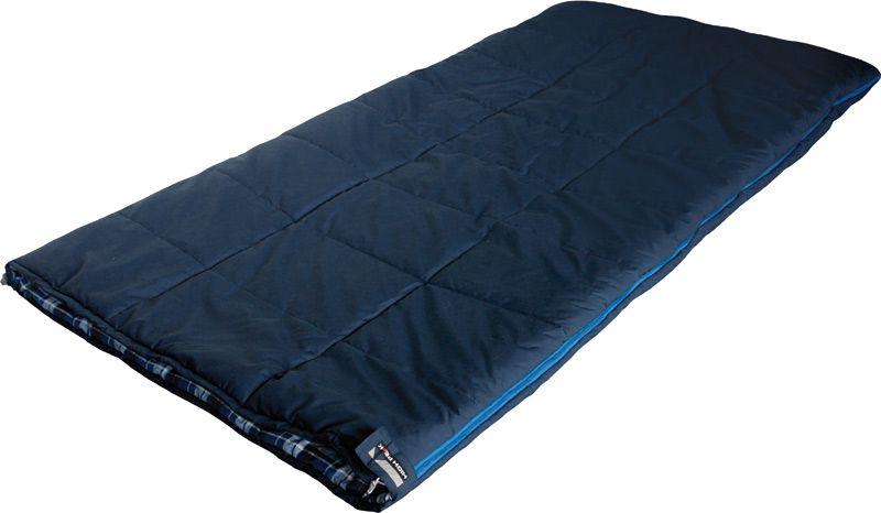 Спальный мешок-одеяло High Peak Celtic, цвет: темно-синий, левосторонняя молния21223High Peak Celtic - это классическая модель спальника-одеяла увеличенной ширины. Спальник просторный и очень комфортный. Если расстегнуть молнию, то получится огромное одеяло размером 200 х 200 см. Внутренняя ткань спального мешка выполнена из 100% хлопковой фланели, это очень мягкая и теплая ткань. Вдоль молнии идет защита от закусывания замком молнии ткани спальника. Чтобы холодный воздух не проникал сквозь молнию, ее закрывает тепловой клапан. В верхней части молния фиксируется клапаном на липучке Velcro. На молнии два бегунка, которые позволяют расстегнуть спальник со стороны ног и сделать вентиляционное окно. Спальник утеплен слоем силиконизированного утеплителя Dura Loft, смешанного с холлофайбером в соотношении 70%/30% Верх 2х150 (300) г/м2 + Низ 2х150 (300) г/м2. В комплекте со спальником идет транспортировочный чехол. Что взять с собой в поход?. Статья OZON Гид
