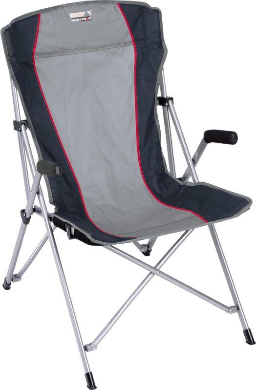 Кресло складное High Peak Campingstuhl Altea, цвет: серый, темно-серый, 56 х 44 х 46/95 смЛК-705Просторное и очень удобное кресло High Peak Campingstuhl Altea предназначено для кемпингового отдыха. Надежная рама изготовлена из стального профиля 25 х 16 мм с порошковым покрытием, спинка-сиденье из прочного материала полиэстер 600D. Кресло легко собирается и занимает мало места в багаже. На ножках имеются пластиковые накладки, предотвращающие царапание пола. Максимально допустимая статическая нагрузка 100 кг.В комплекте практичный транспортировочный чехол.