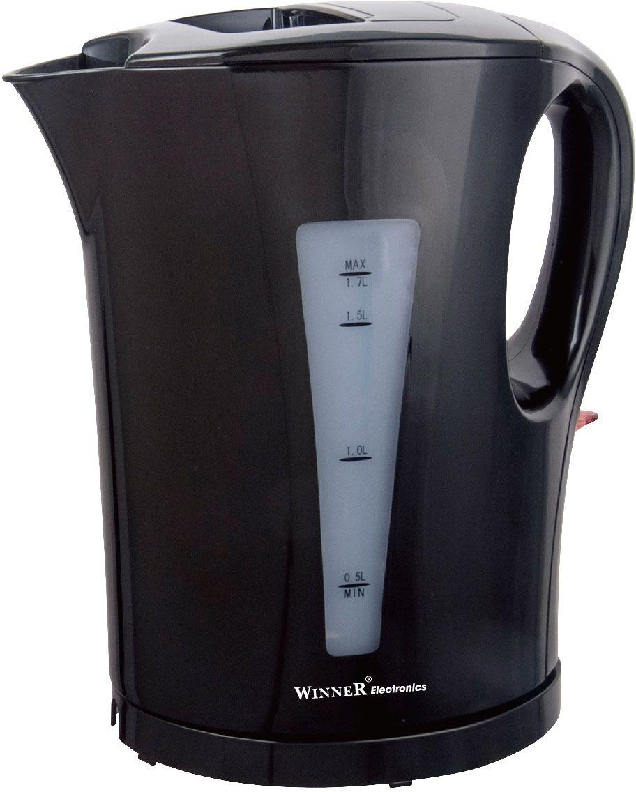 Winner Electronics WR-117 электрический чайникWR-117Электрический чайник Winner Electronics WR-117 выполнен из высококачественных материалов (пластик). Скрытый нагревательный элемент из нержавеющей стали обеспечивает быстрое закипание и долговечность. Удобный индикатор уровня воды помогает контролировать максимальное заполнение, текущий уровень и минимальный остаток. Также имеется съемная база питания с противоскользящим покрытием.